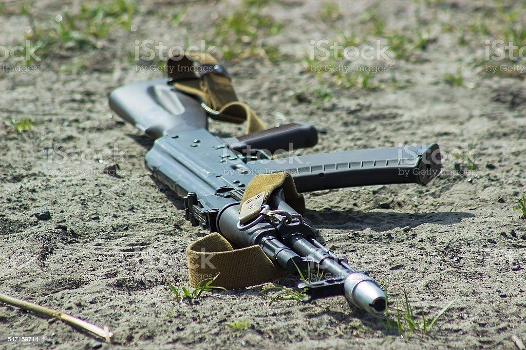 Kalashnikov AKM on white background stock photo