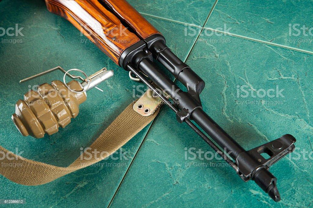 Kalashnikov, ammunition, terrorism, war stock photo