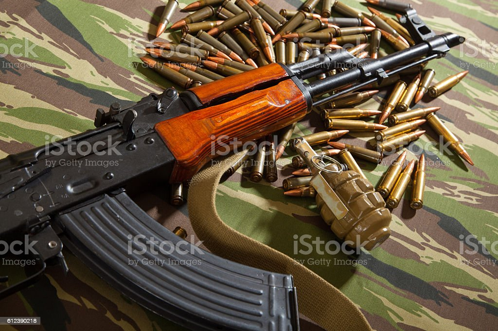 Kalashnikov, ammunition, terrorism, war stock photo