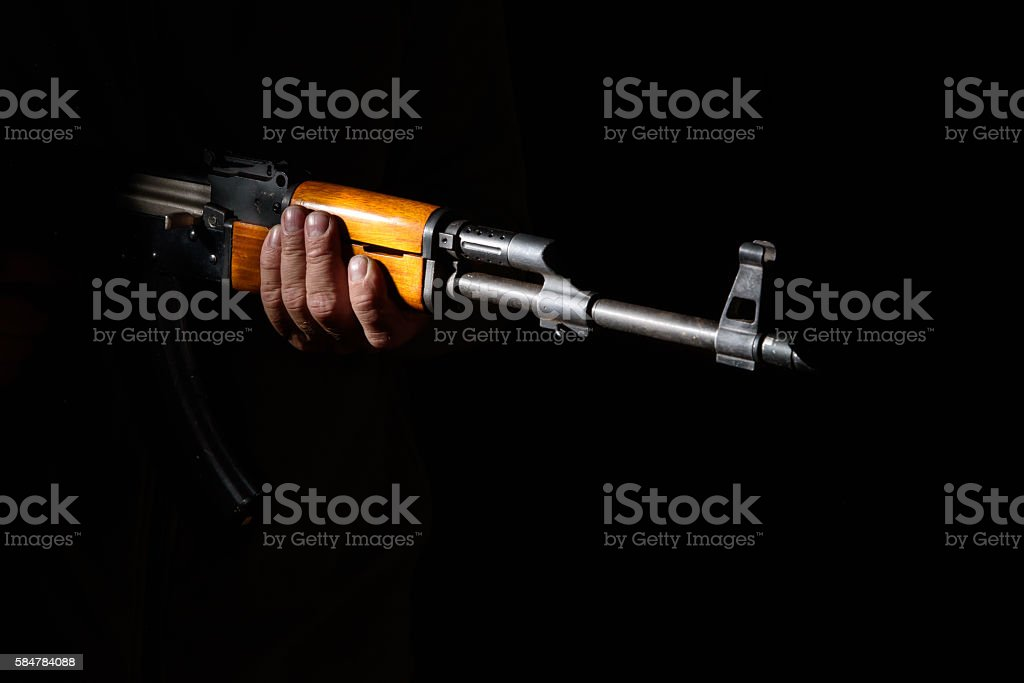 Kalashnikov assault rifle close-up stock photo