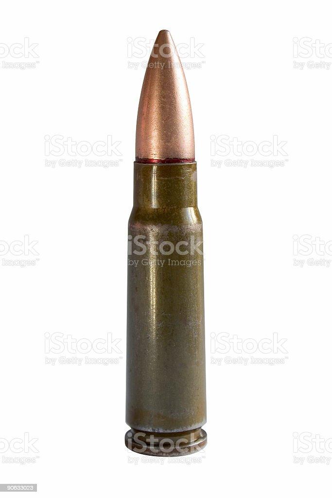 Kalashnikov bullet on a white background royalty-free stock photo