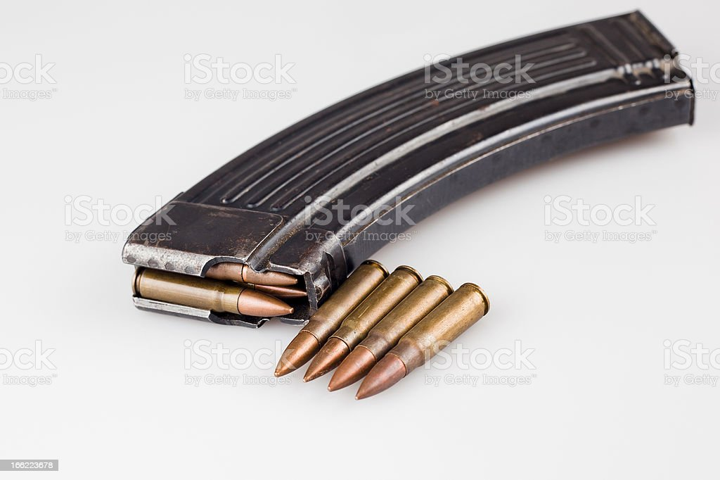 Kalashnikov magazine with extra bullets royalty-free stock photo