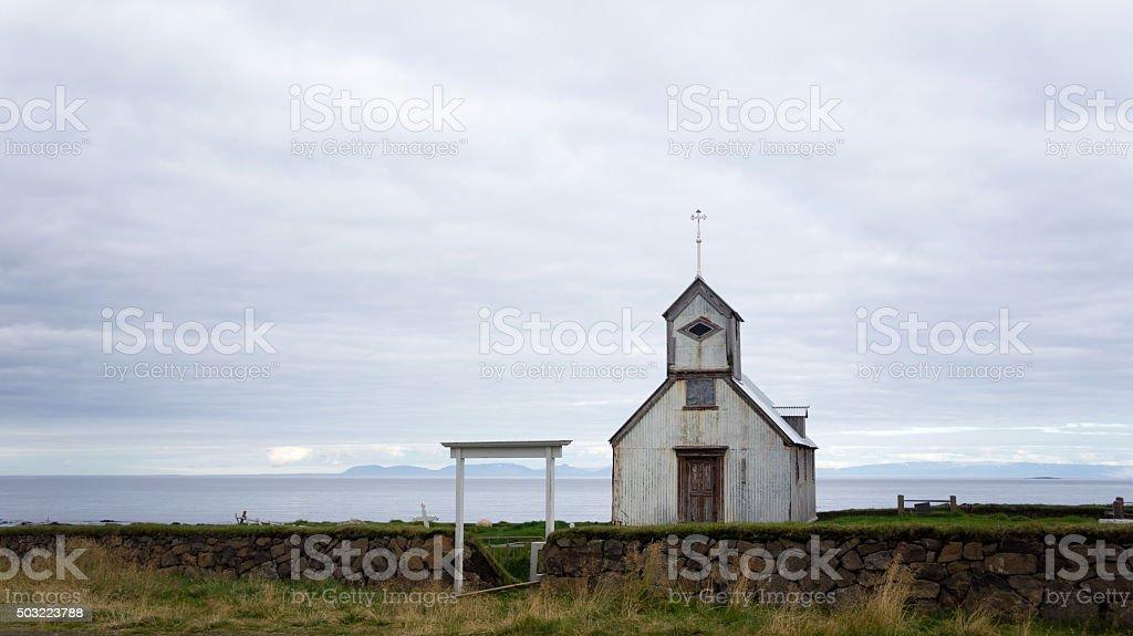 Kaldrananeskirkja, one of the many Icelandic churches. stock photo