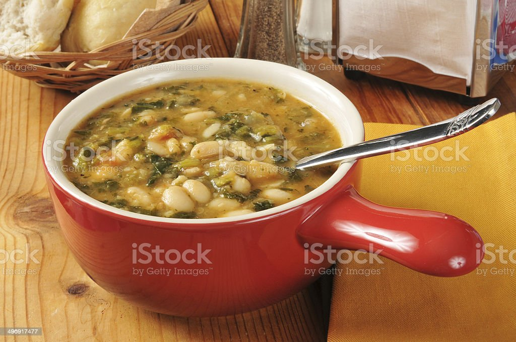 Kale and white bean soup stock photo