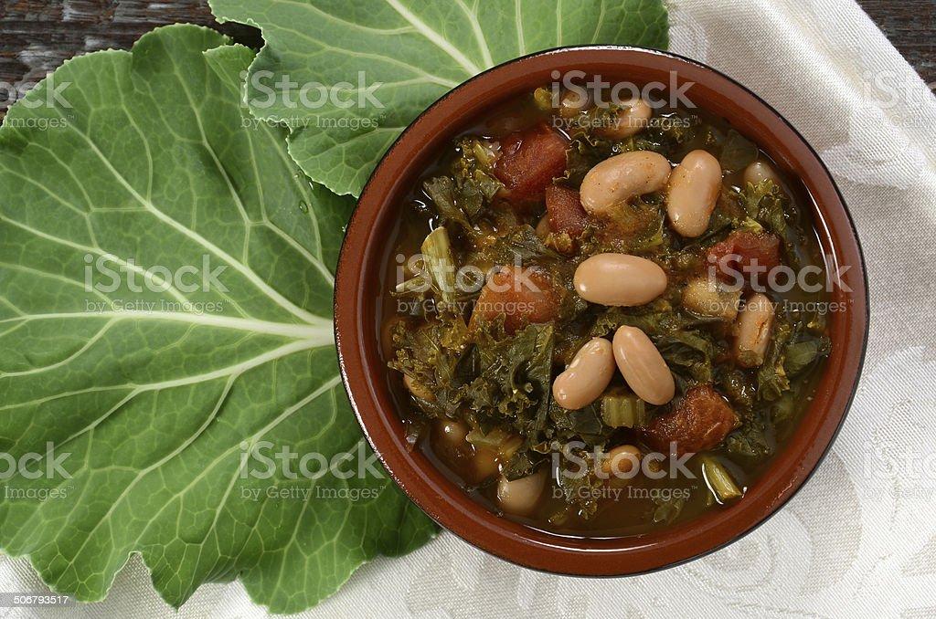 Kale and White Bean Soup royalty-free stock photo