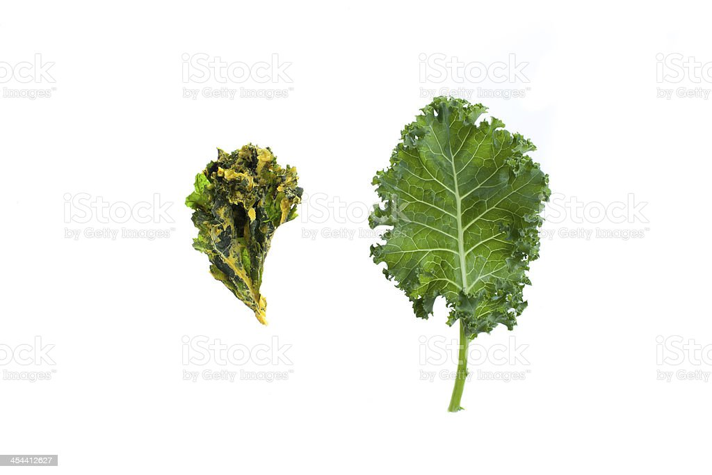 Kale chip next to a leaf on white background royalty-free stock photo