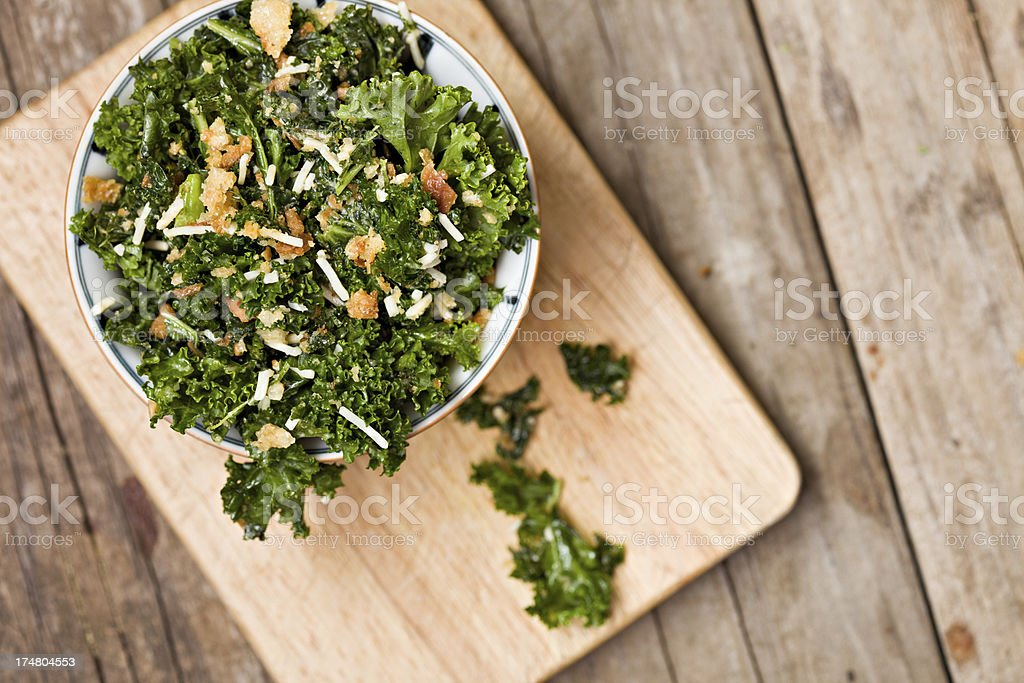 Kale Salad In A White Bowl stock photo