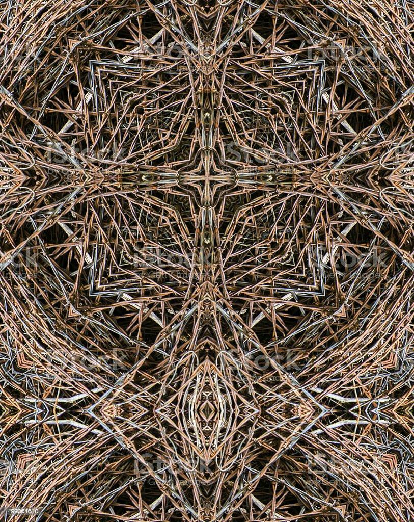 kaleidoscope cross: barbed wire stock photo