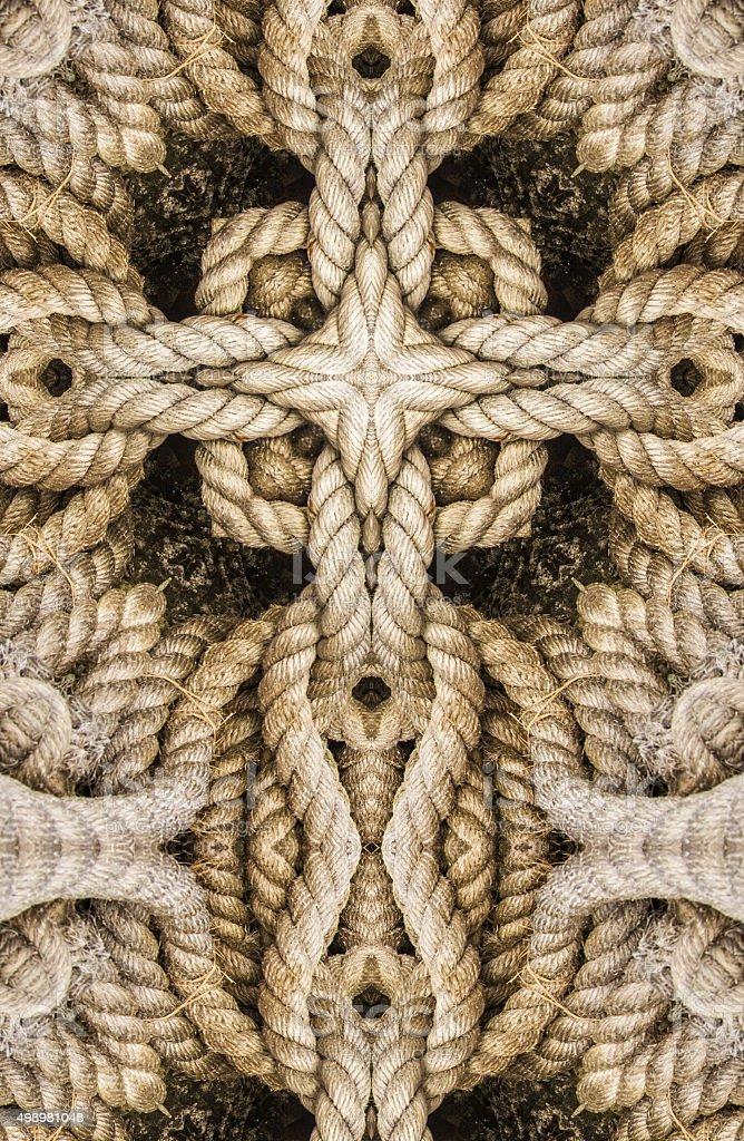kaleidoscope cross:  rope stock photo