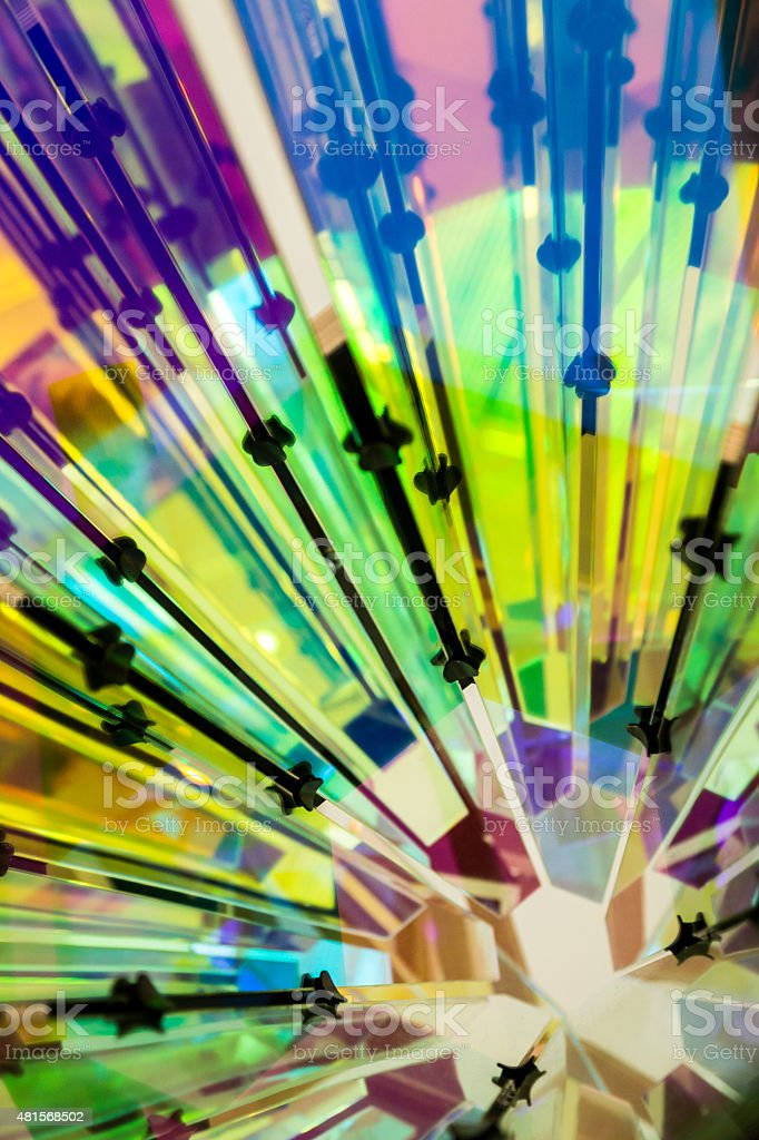 Kaleidoscope effect produced by light reflected on mirrors stock photo