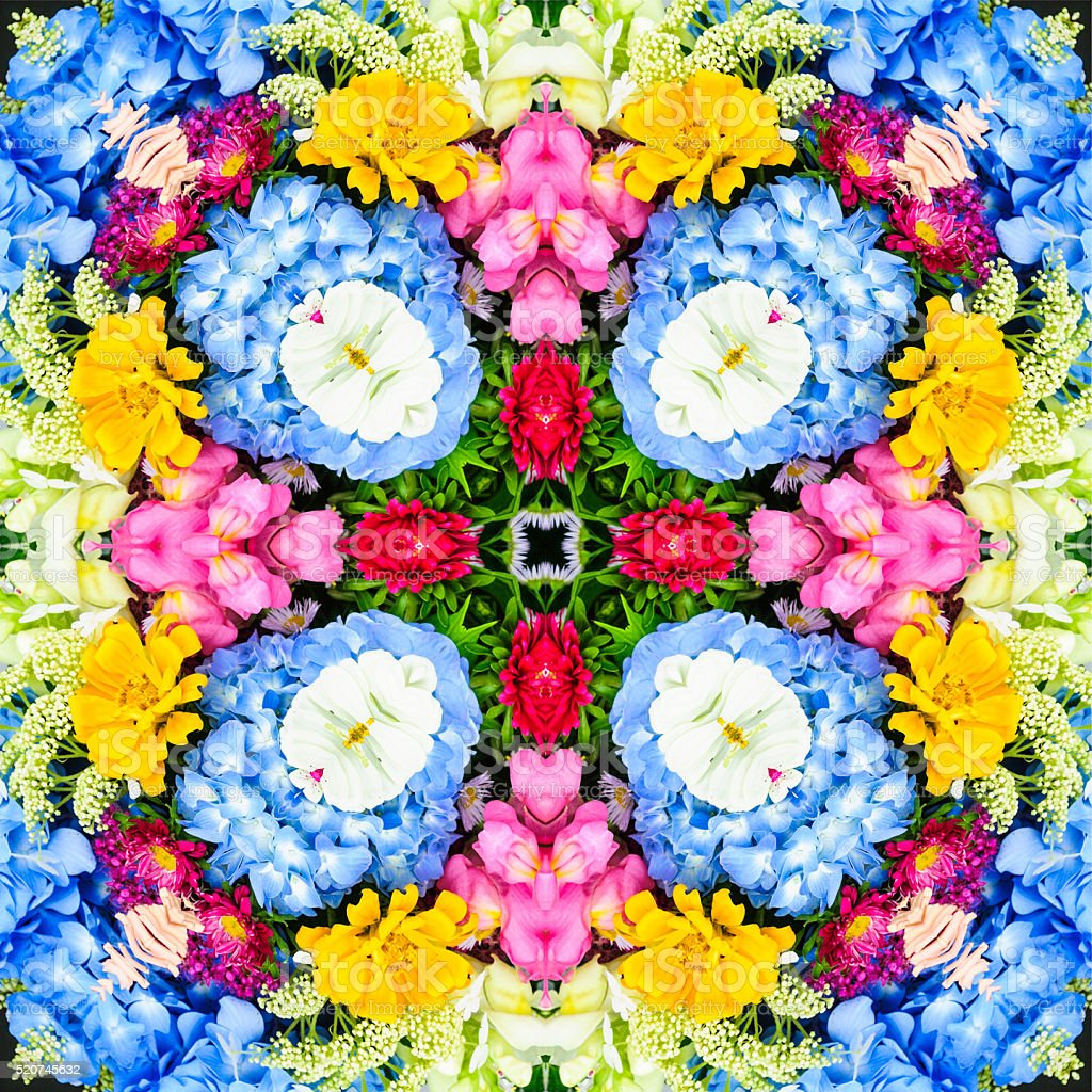 Kaleidoscope Floral Design stock photo