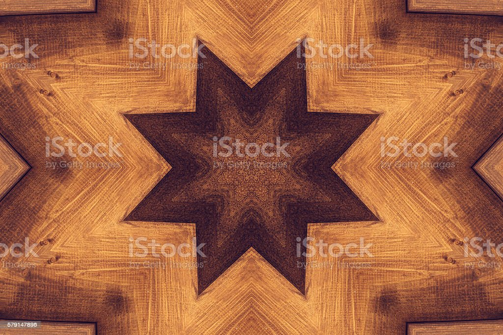 Kaleidoscope picture with brown star stock photo