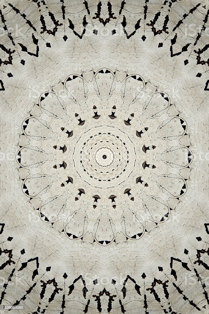 kaleidoscope white and brown circular pattern color stock photo