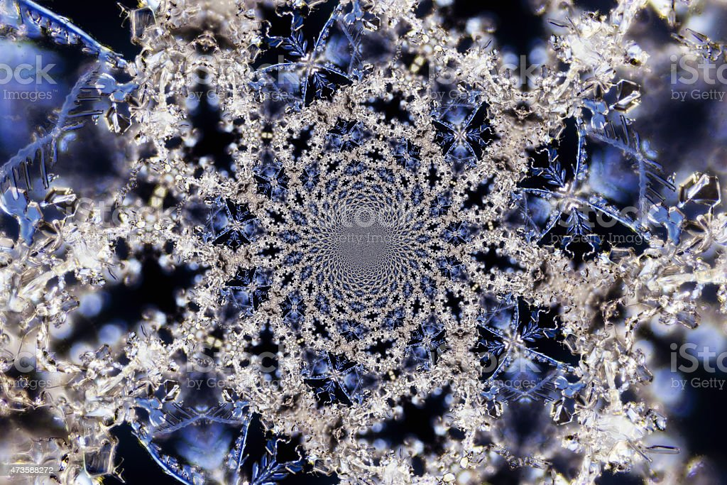 Kaleidoscopic Microphoto of Snow Crystals stock photo