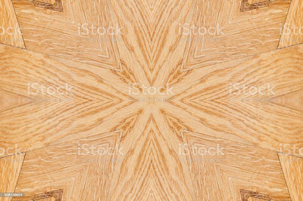 Kaleidoscopic pattern of decorative house wooden floor stock photo