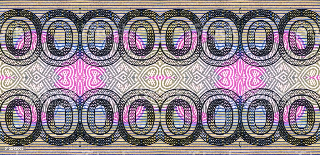 Kaleidoscopic pattern of red zero digits of Russian ruble banknote stock photo