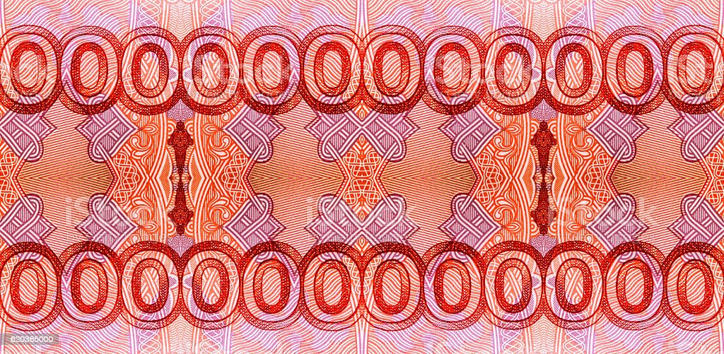 Kaleidoscopic pattern of red zero digits stock photo