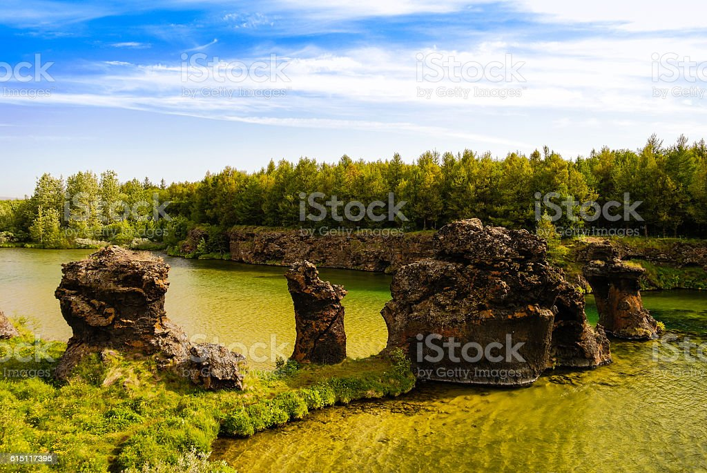 Kalfastrond lava sculpture around Myvatn lake, Iceland stock photo