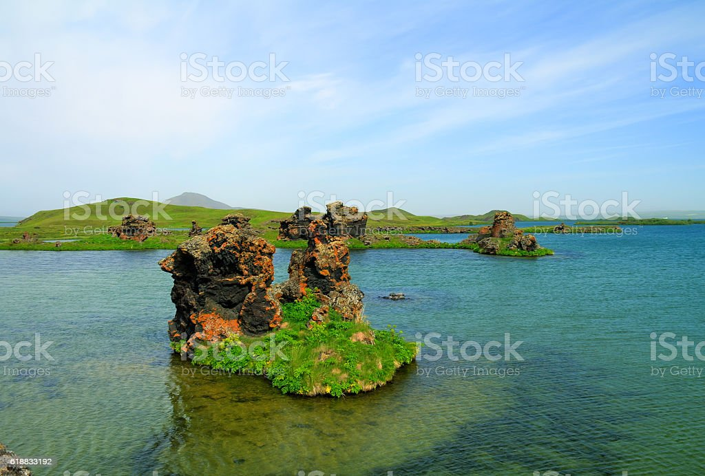 Kalfastrond lava sculpture around Myvatn lake, Iceland stock photo
