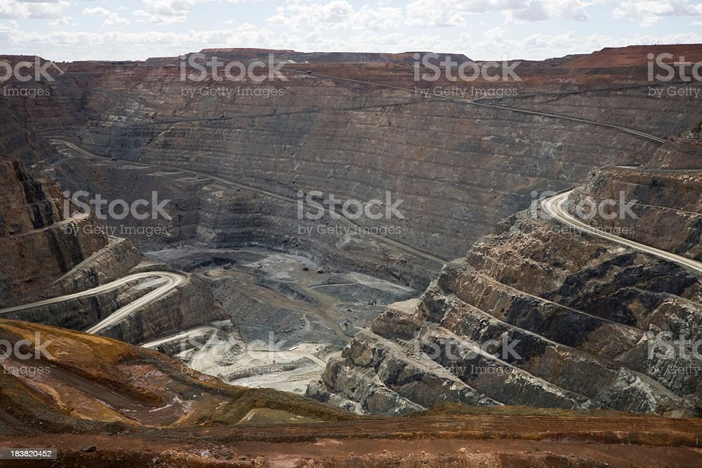 Kalgoorlie Super Pit with winding trails to the bottom stock photo