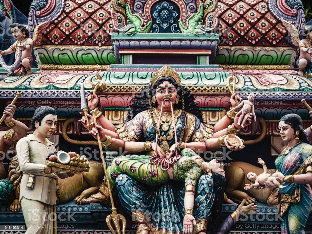 Kali hindu goddess Sri Veeramakaliamman temple stock photo