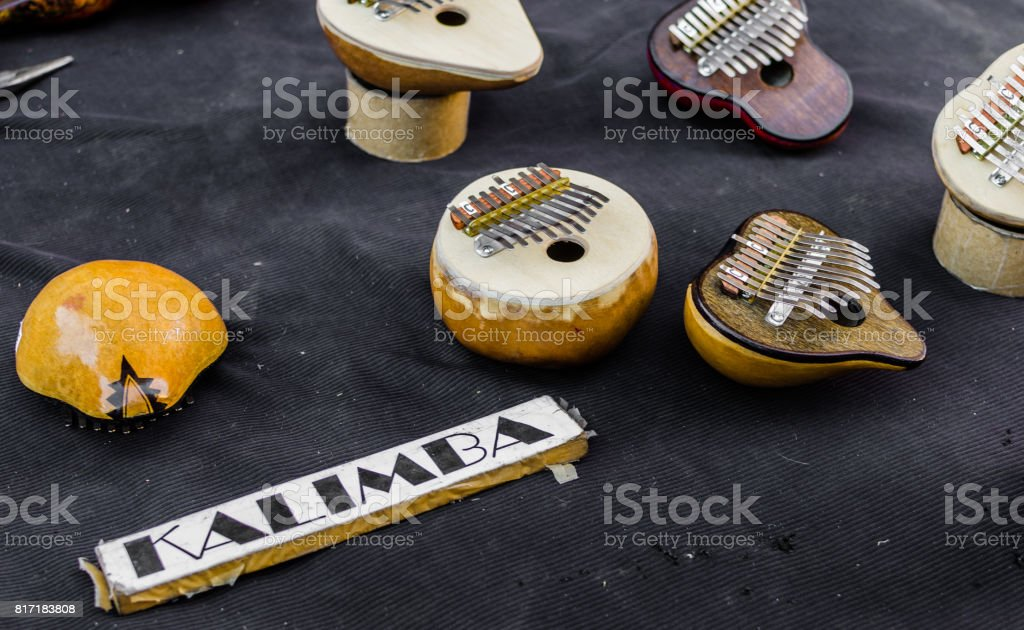 Kalimba musical instrument (mbira, sanza) against black background stock photo