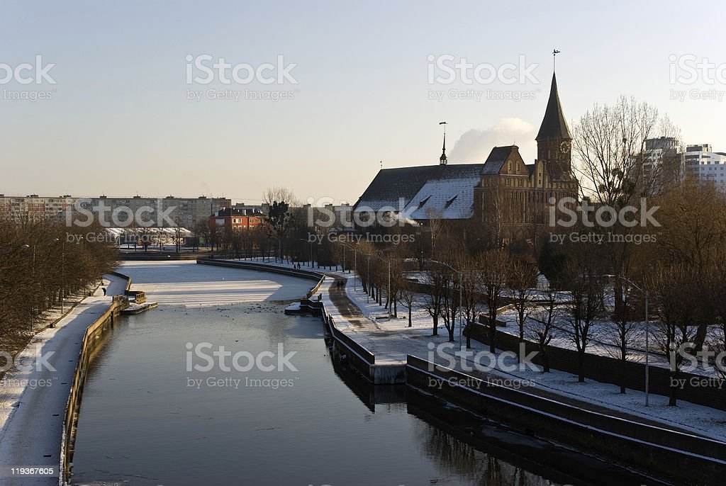 Kaliningrad cathedral in winter stock photo