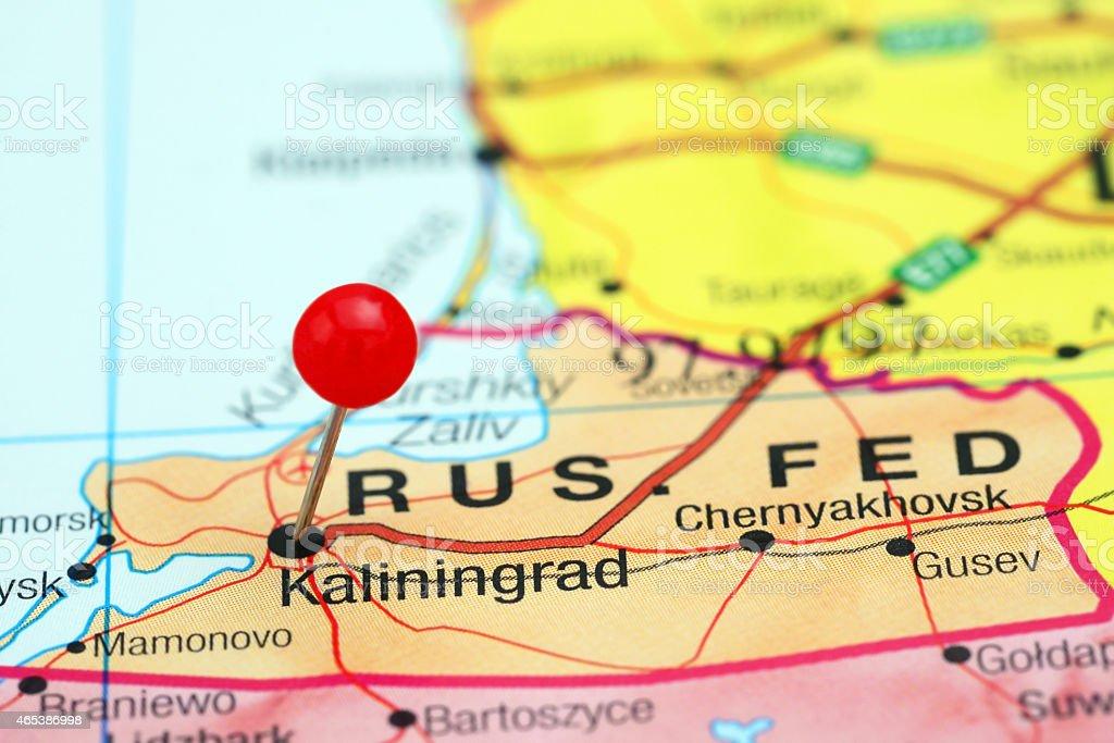 Kaliningrad pinned on a map of europe stock photo