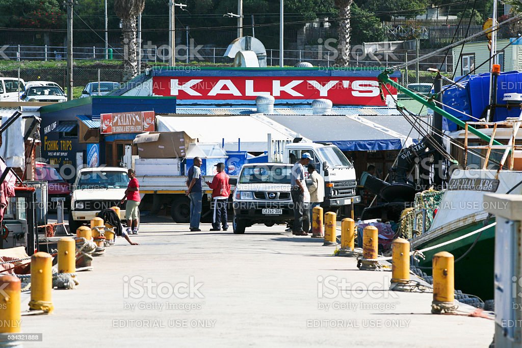 Kalky's fish-and-chips restaurant, Kalk Bay, Cape Town stock photo