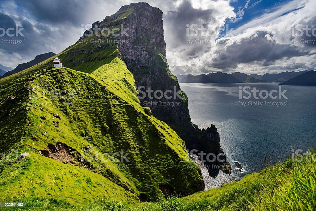 Kallur lighthouse in Kalsoy Island, Faroe Islands stock photo