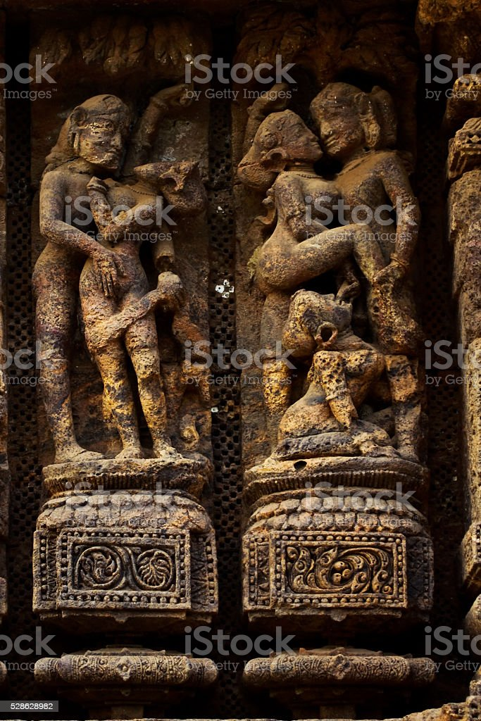 Kama Sutra on temple wall stock photo