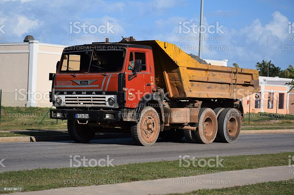 Kamaz 5511 driving on the street in Cuba stock photo