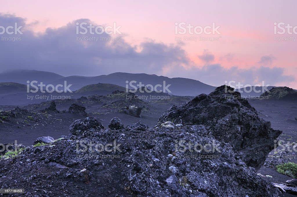 Kamchatka landscape with blue twilight royalty-free stock photo