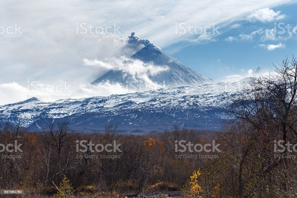 Kamchatka: view of explosive-effusive volcanic erupting stock photo