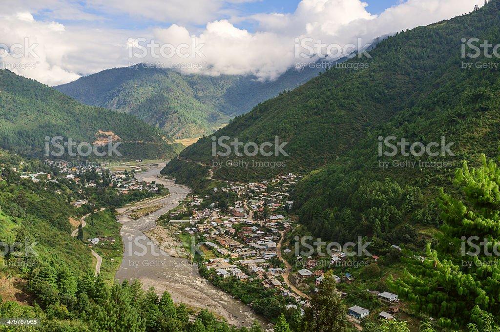 Kameng river and Dirang town, western Arunachal Pradesh, India. stock photo