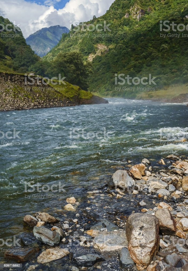 Kameng river and Himalayas, Tawang, Arunachal Pradesh, India. stock photo