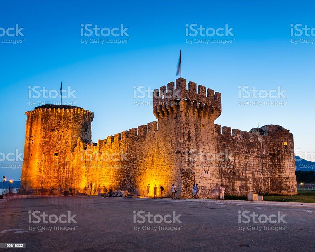 Kamerlengo Fortress in Trogir in the Evening, Dalmatia stock photo