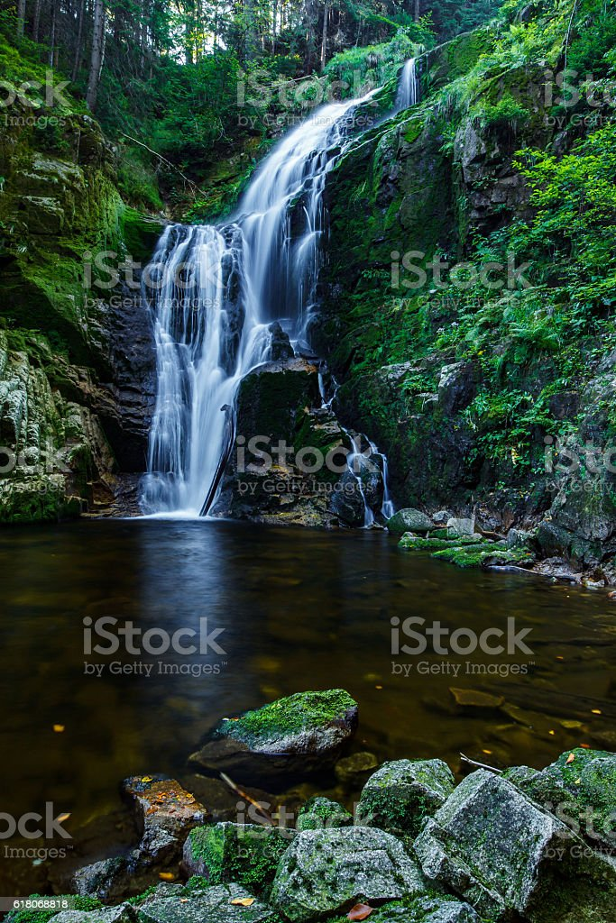 Kamienczyk Waterfall in Karkonosze National Park in Poland Sudety Mountains. stock photo