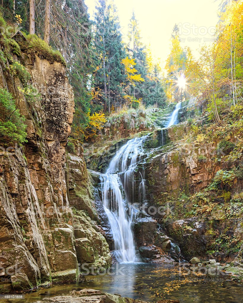 Kamienczyk waterfall in Poland stock photo