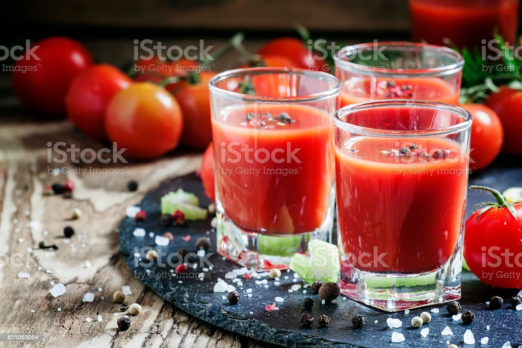 Kamikaze Cocktail with tomato juice and spices stock photo