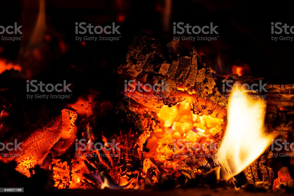 Kamin - Kaminfeuer - Feuerstelle - Feuer - Flammen stock photo