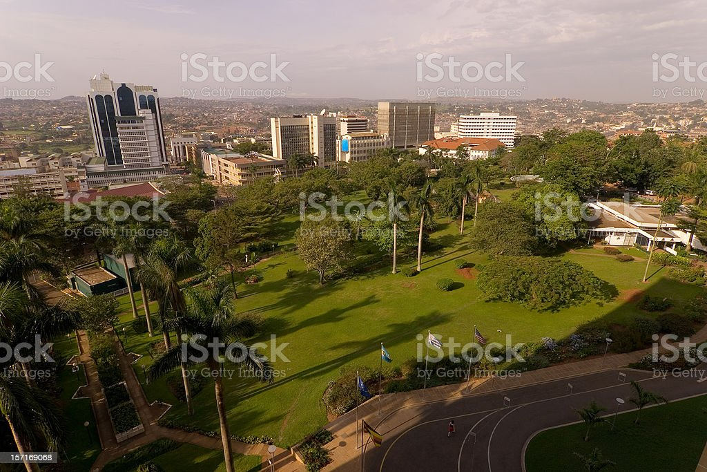 Kampala City aerial stock photo