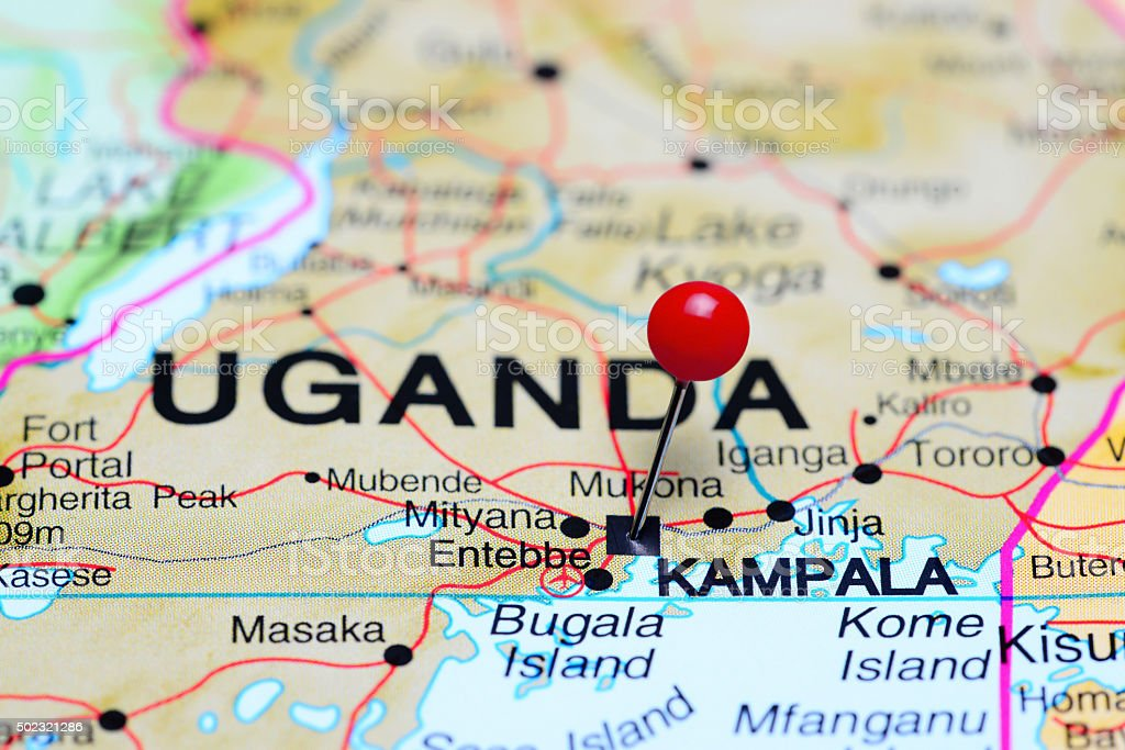 Kampala pinned on a map of Africa stock photo