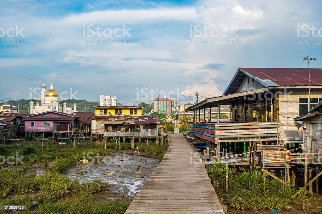 Kampong Ayer  Floating village in Brunei stock photo