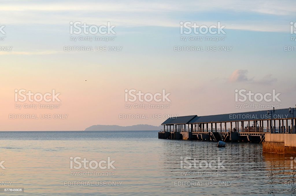 Kampong Tekek boat jetty at Tioman island Malaysia stock photo