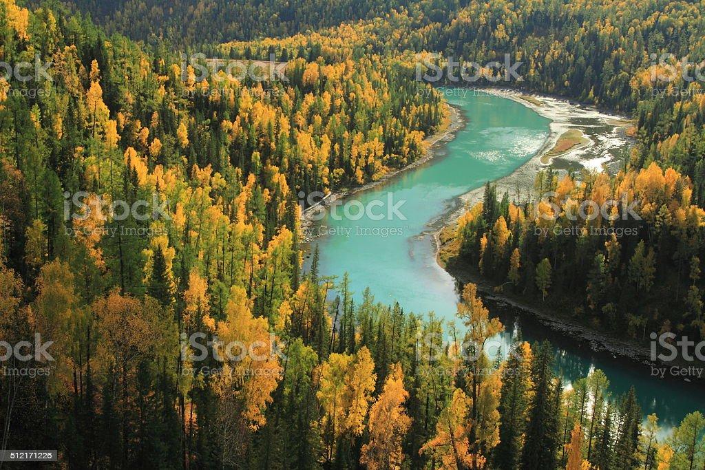 Kanas lake and autumn in Xinjiang , China stock photo