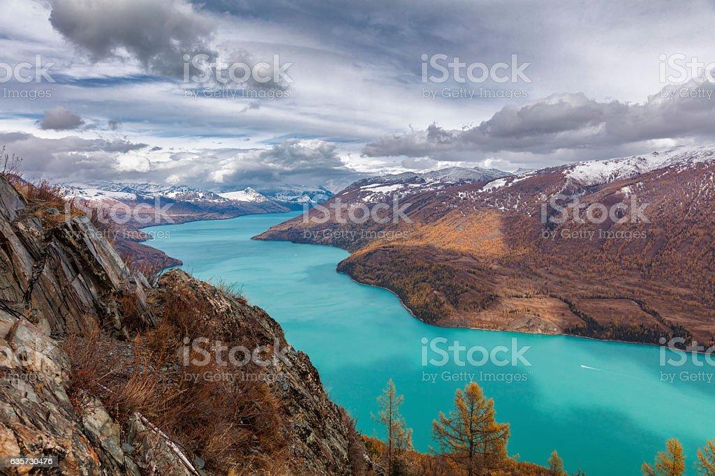 Kanas lake View ,  Xinjiang, China stock photo