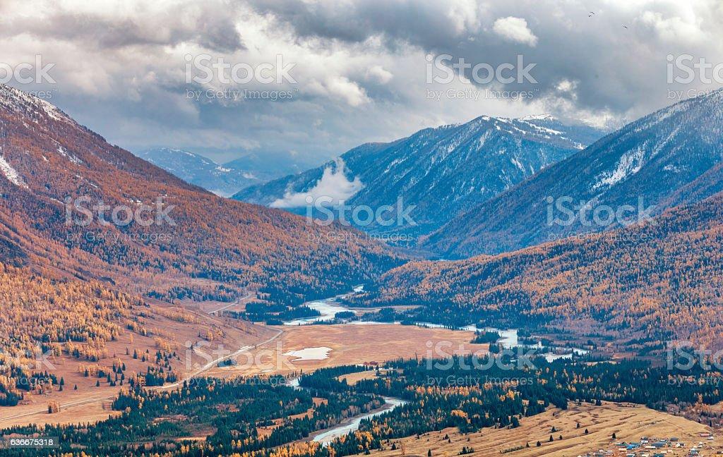 Kanas Mountain View ,  Xinjiang, China stock photo