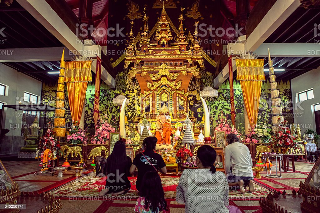 Kanchanaburi, Thailand - July 20, 2015 - Famous temple in Sangkhlaburi stock photo