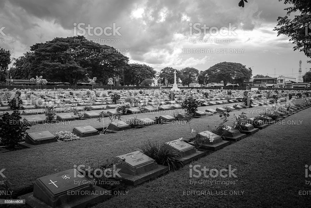Kanchanaburi War Cemetery in Thailand stock photo